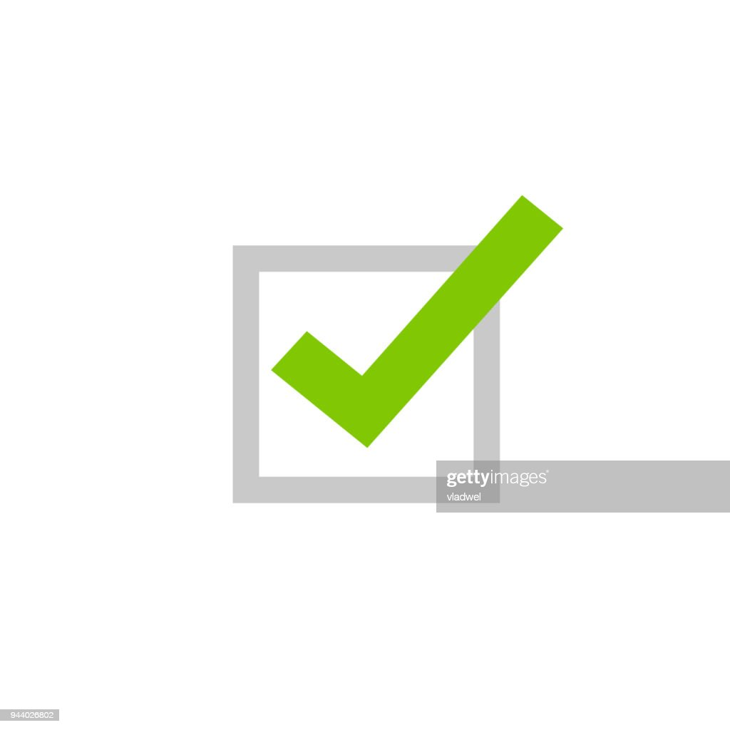 Tick icon vector symbol, flat cartoon green checkmark isolated on white background, checked or approve icon or correct choice sign, square check box mark, checkbox pictogram