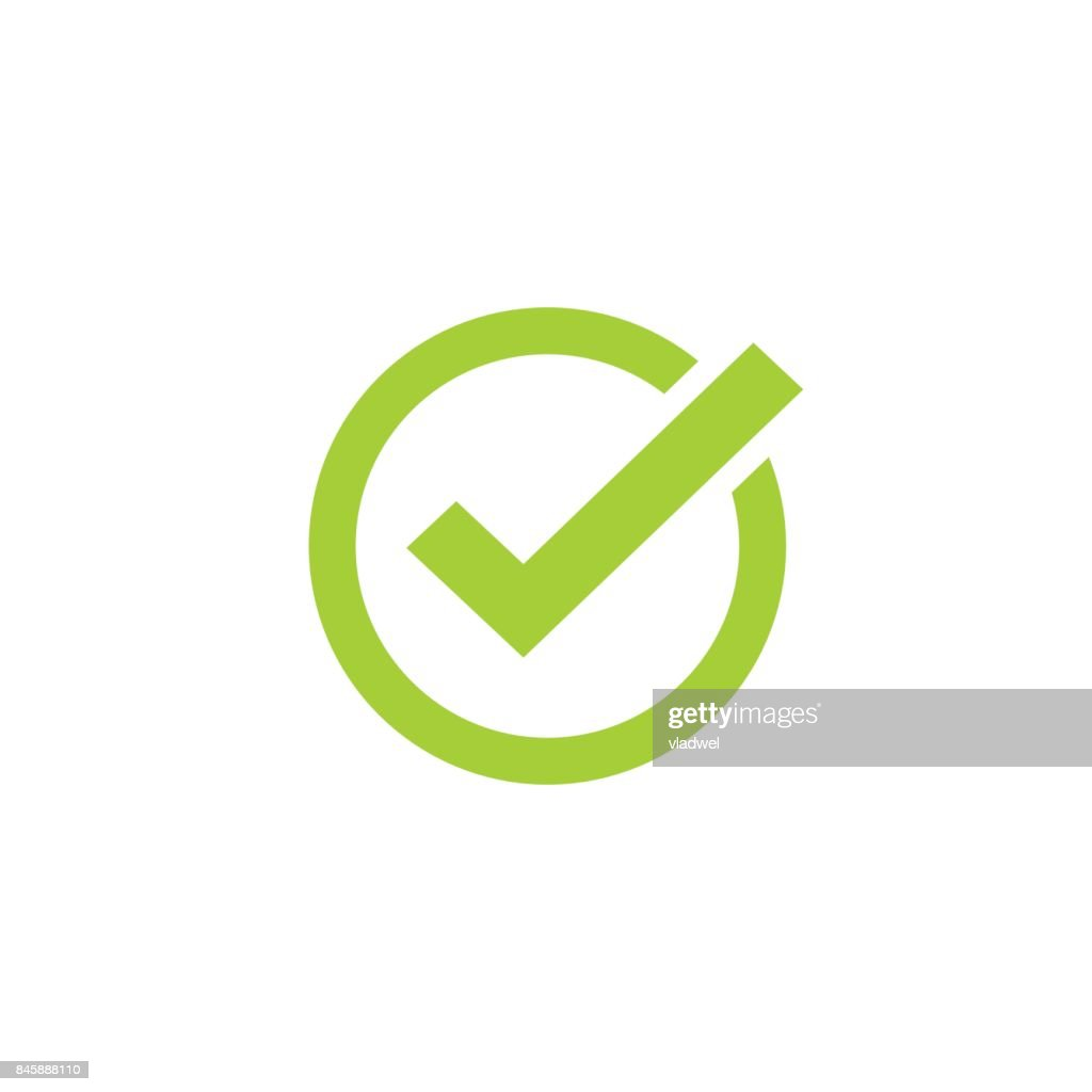 Tick icon vector symbol, green checkmark isolated, checked icon or correct choice sign, check mark or checkbox pictogram