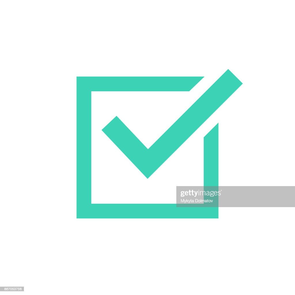 Tick icon vector symbol, green checkmark isolated on white background, checked icon or correct choice sign