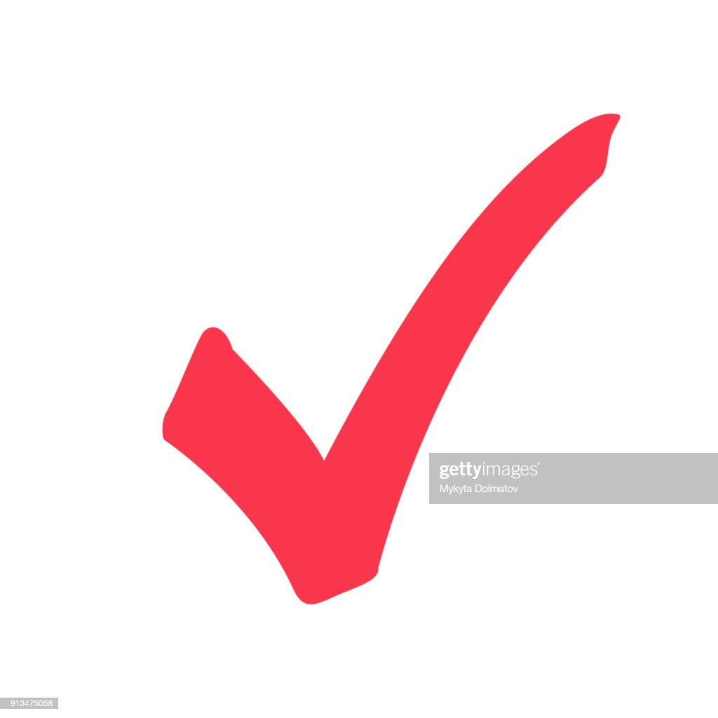 Tick icon vector symbol, marker red checkmark isolated on white background, checked icon or correct choice sign doodle.