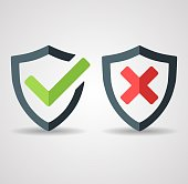 Tick mark approved icon vector on white background. Denied disapproved sign. Shield with green checkmark and red X mark. Security, Protection, Safe Concept. EPS 10