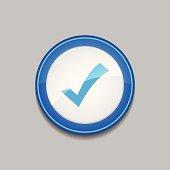 Tick Mark Circular Vector Blue Web Icon Button