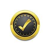 Tick Mark Circular Vector Gold Web Icon Button
