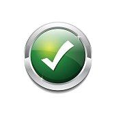 Tick Mark Circular Vector Green Web Icon Button