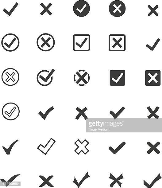 tick mark icon set - check mark stock illustrations