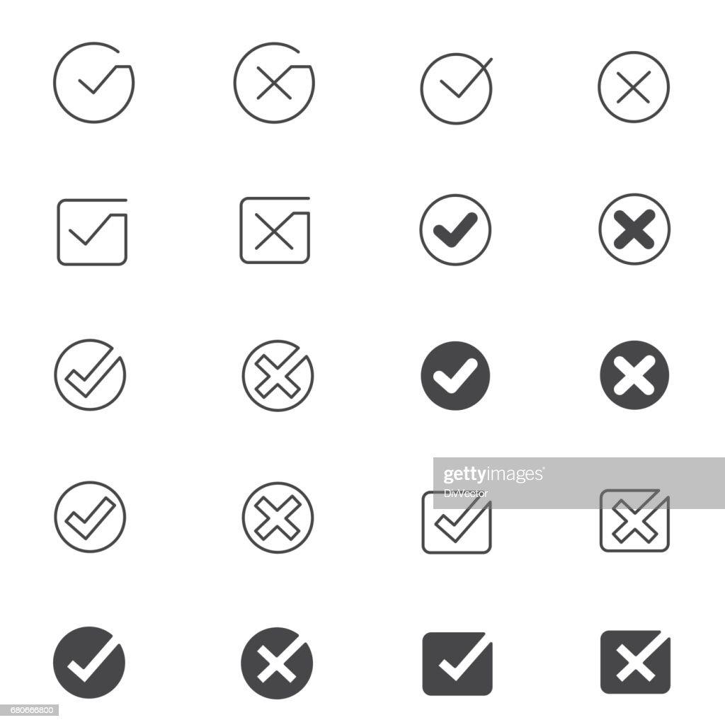 Tick mark icon set : stock illustration