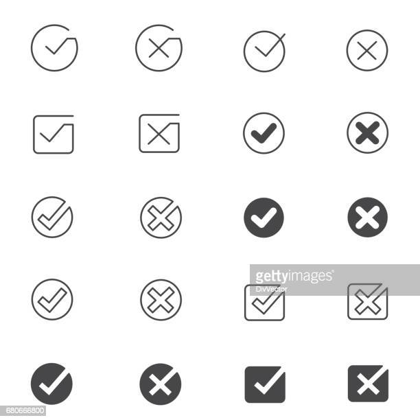 tick mark icon set - ok sign stock illustrations