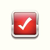 Tick Mark Rounded Rectangular Vector Red Web Icon Button