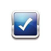 Tick Mark Square Vector Blue Web Icon Button