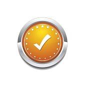 Tick Mark Yellow Vector Icon Button