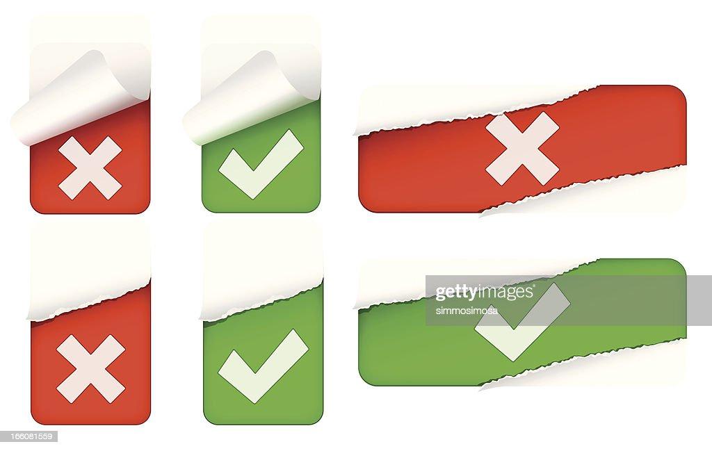 Tick/Cross sticker set