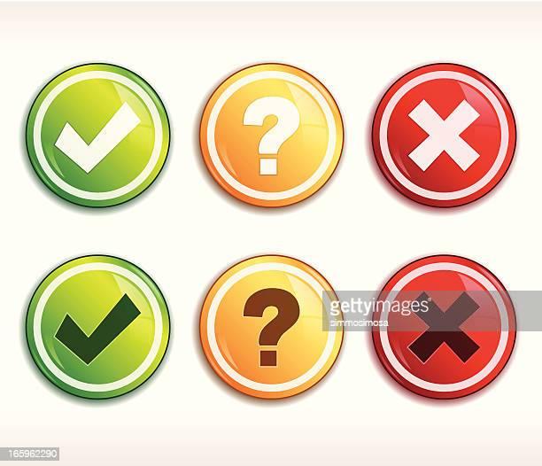 Tick/cross/query buttons