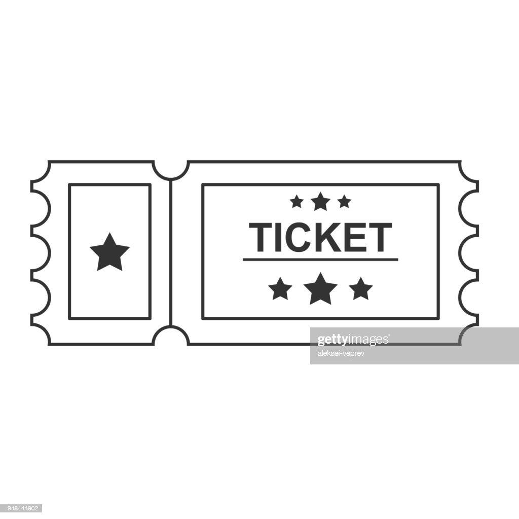 Ticket black Line Icon On white Background