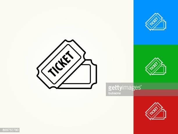 ilustraciones, imágenes clip art, dibujos animados e iconos de stock de boleto negro trazo lineal icono - entrada de cine