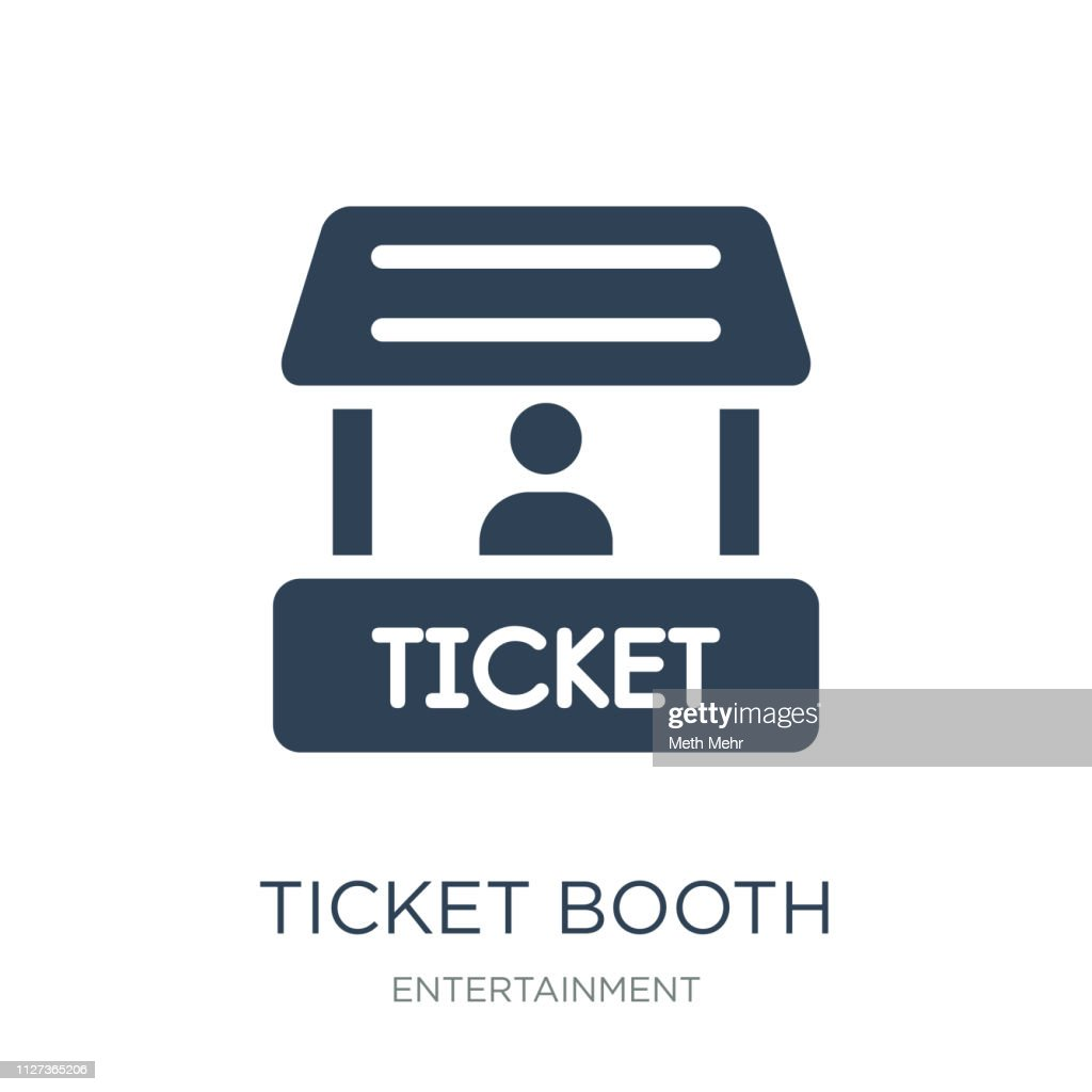ticket booth icon vector on white background, ticket booth trend
