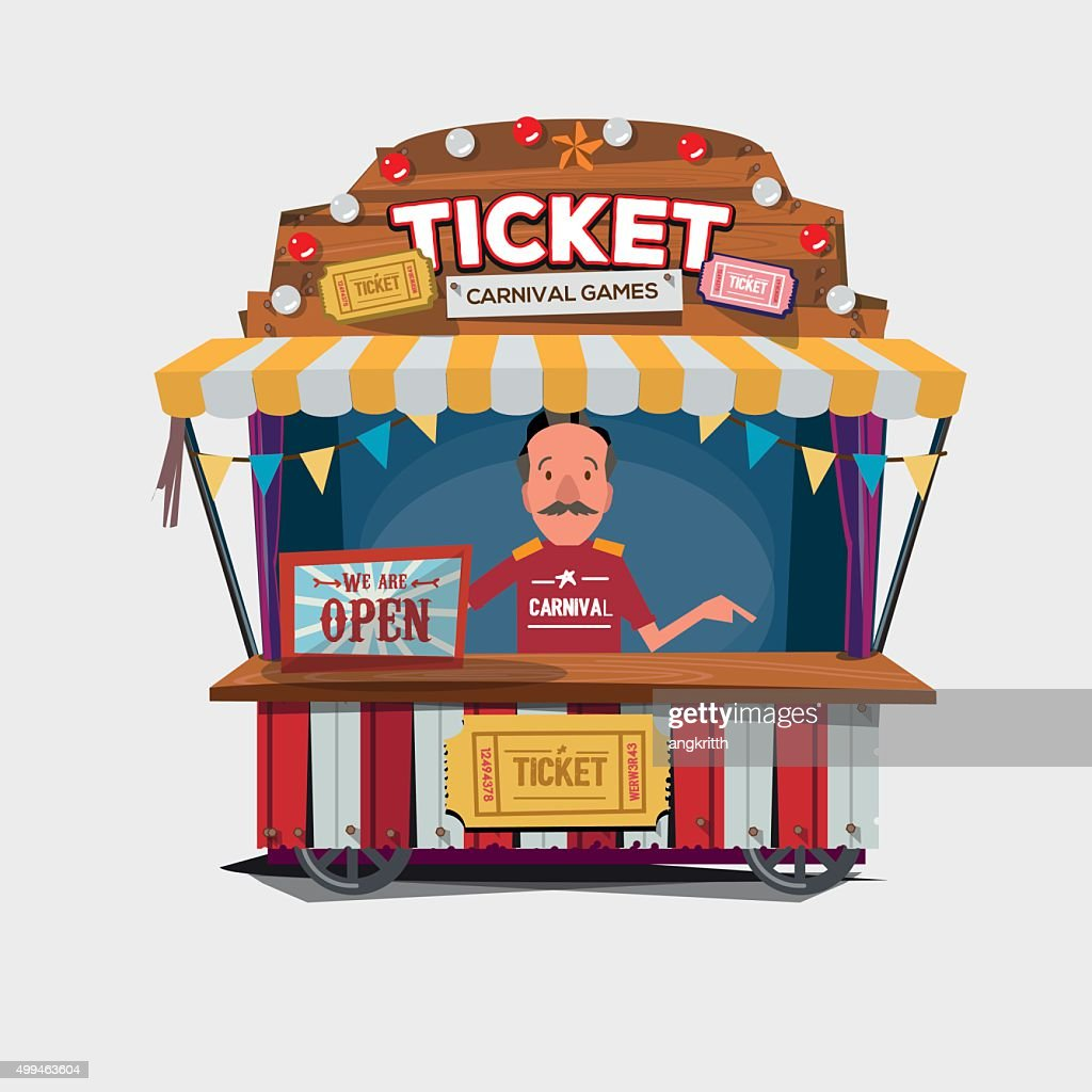 Ticket cart or booth in carnival festival. vintage