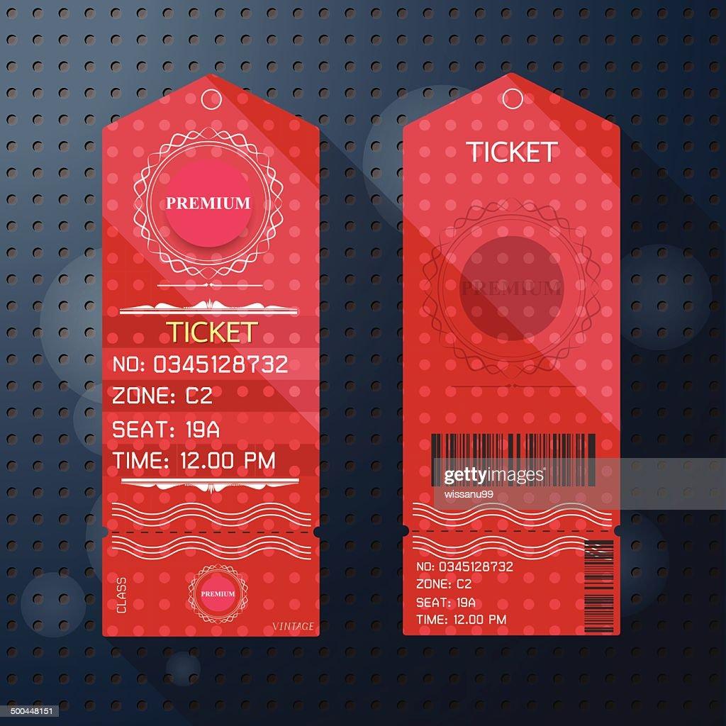 Ticket Design Template Retro Style. Premium Class.