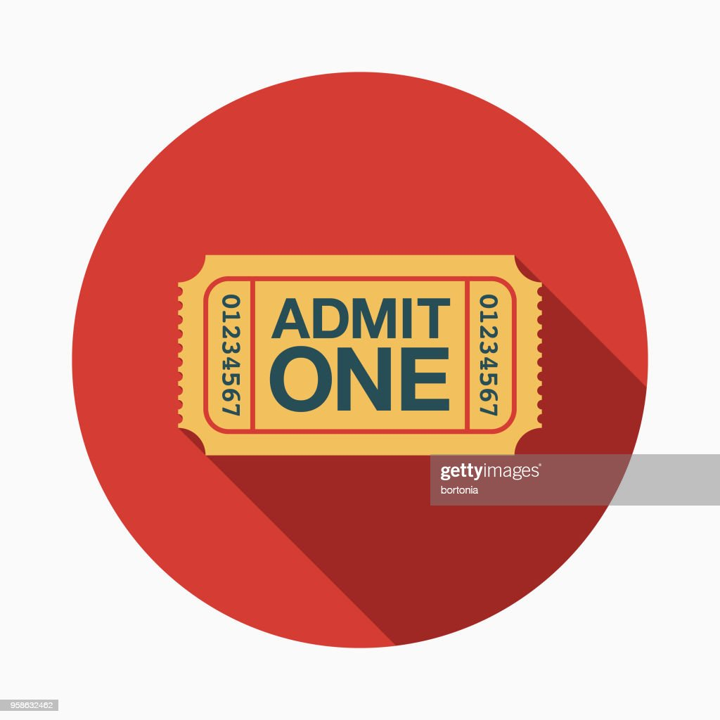 Ticket Flat Design Arts Icon with Side Shadow