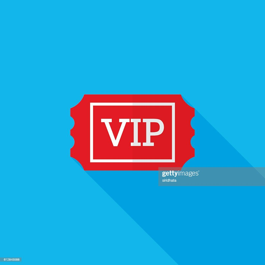 VIP Ticket Flat Long Shadow Icon