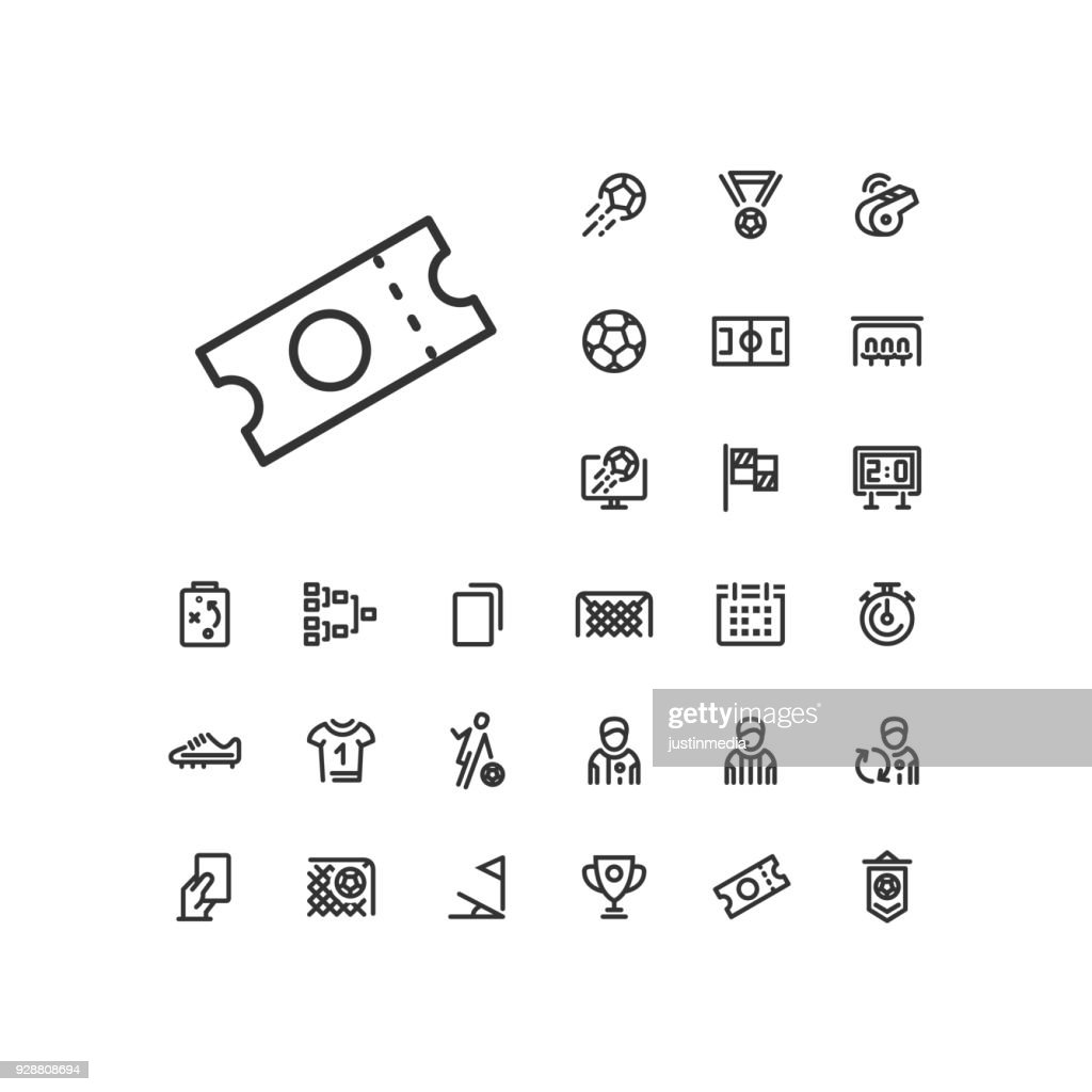 Ticket icon in set on the white background. Soccer / football linear icons to use in web and mobile app.