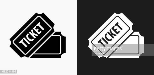 ticket icon on black and white vector backgrounds - ticket stock illustrations, clip art, cartoons, & icons
