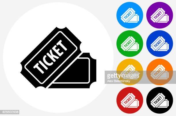 ilustraciones, imágenes clip art, dibujos animados e iconos de stock de ticket icon on flat color circle buttons - entrada de cine