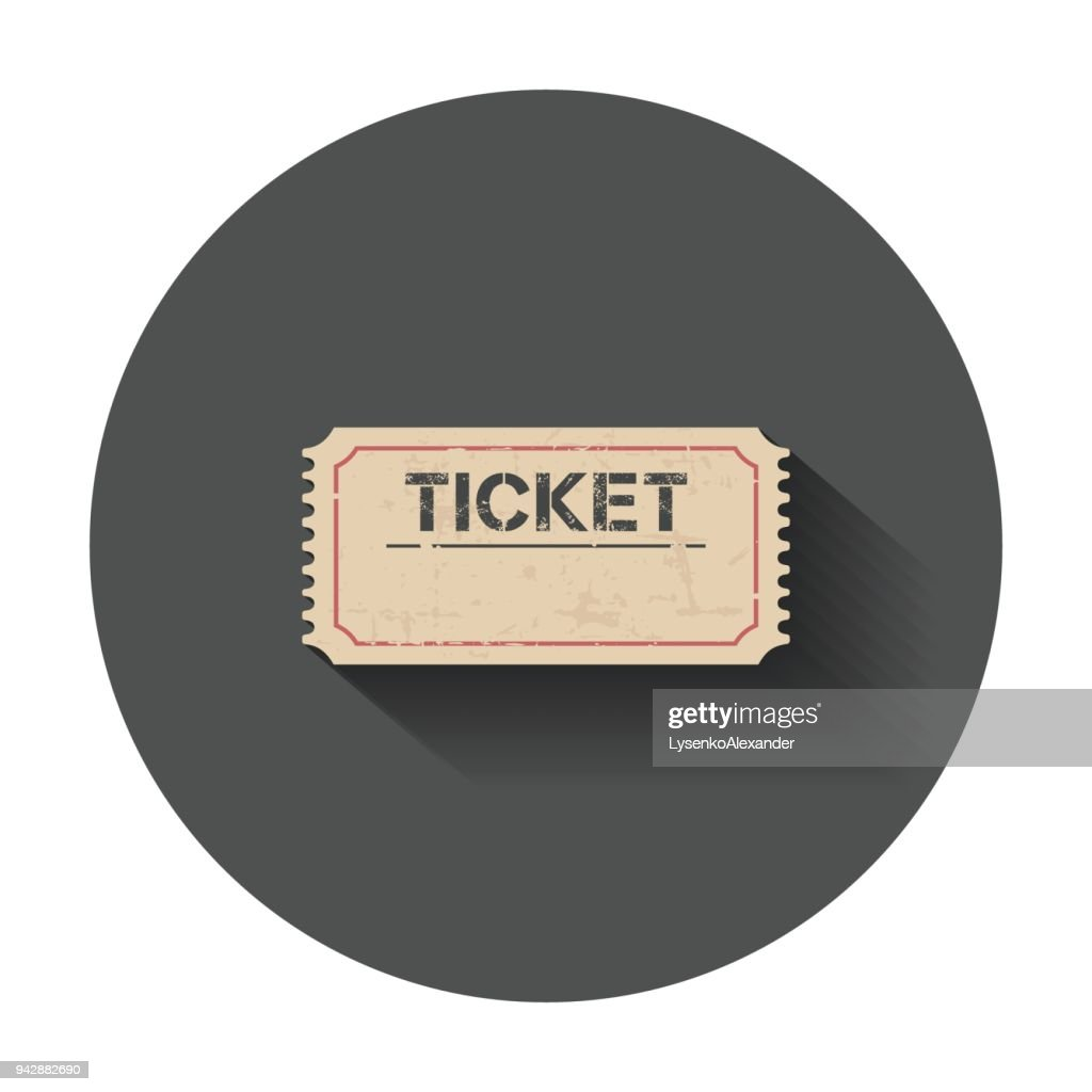 Ticket icon. Vector illustration with long shadow.