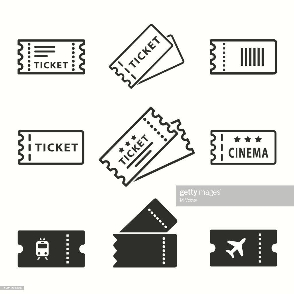 Ticket icons set.