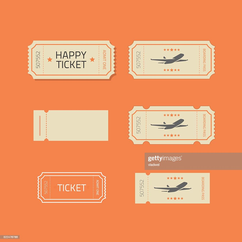 Ticket icons vector set isolated on orange background