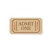 Ticket isolated on white background