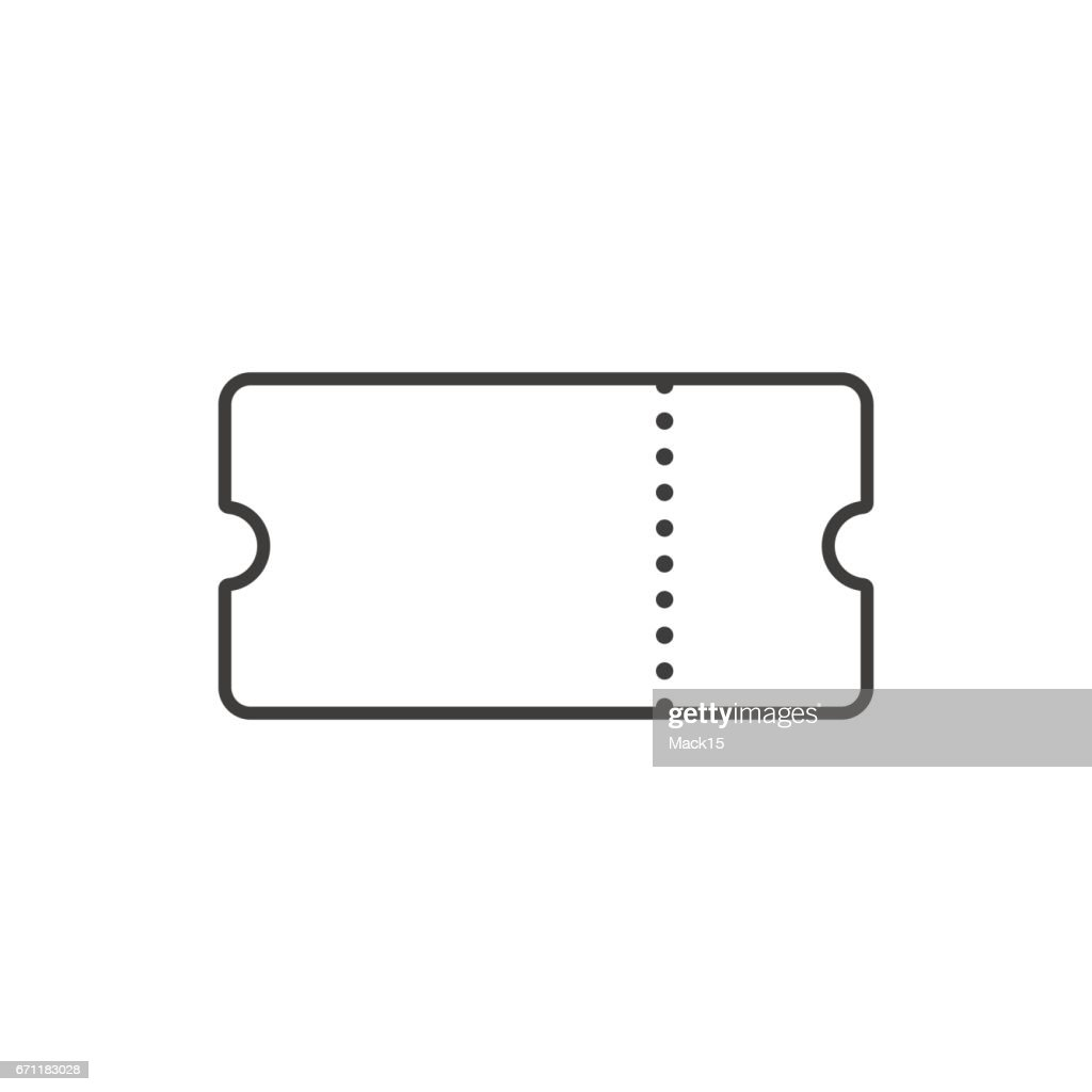 Ticket line art. Outline ticket icon. Vector