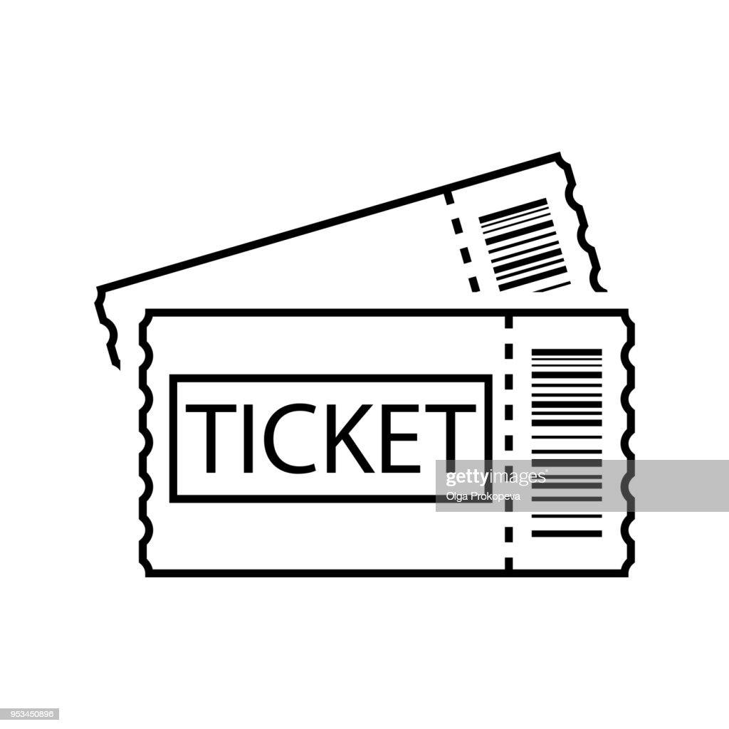 Ticket line art. Outline ticket icon. Vector