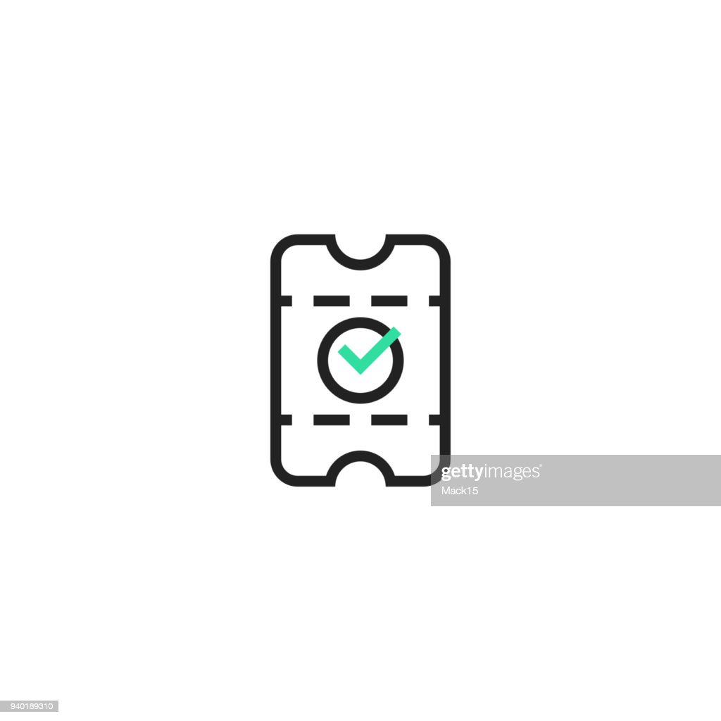 Ticket purchased icon. Vector