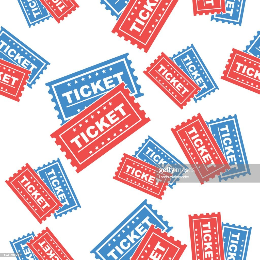 Ticket seamless pattern background icon. Flat vector illustration. Ticket sign symbol pattern.