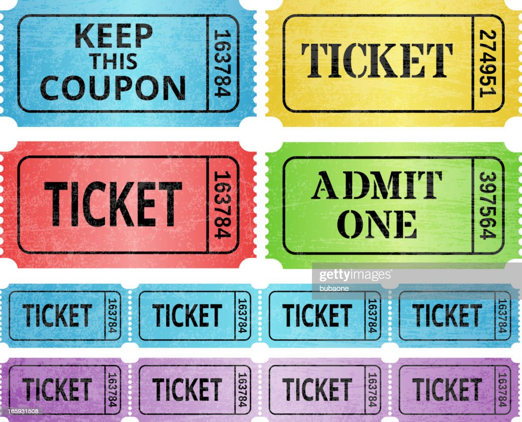 Ticket Stub and raffle tickets royalty free vector graphic : stock illustration