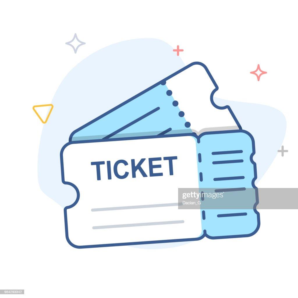 Ticket vector line icon