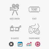 Ticket, video camera and theater masks icons.
