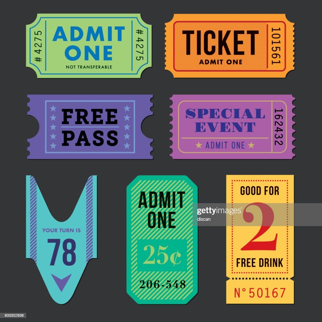 Tickets and coupon Set.