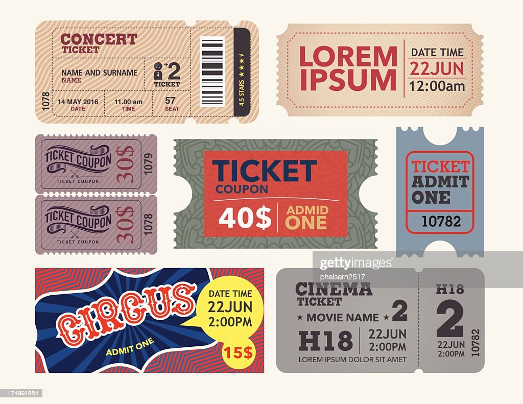 tickets collection in vintage and retro style.