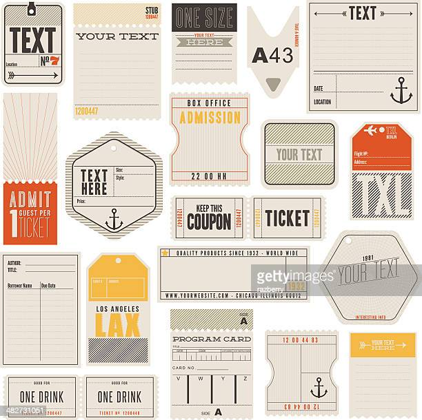 tickets tags and more - fashion stock illustrations