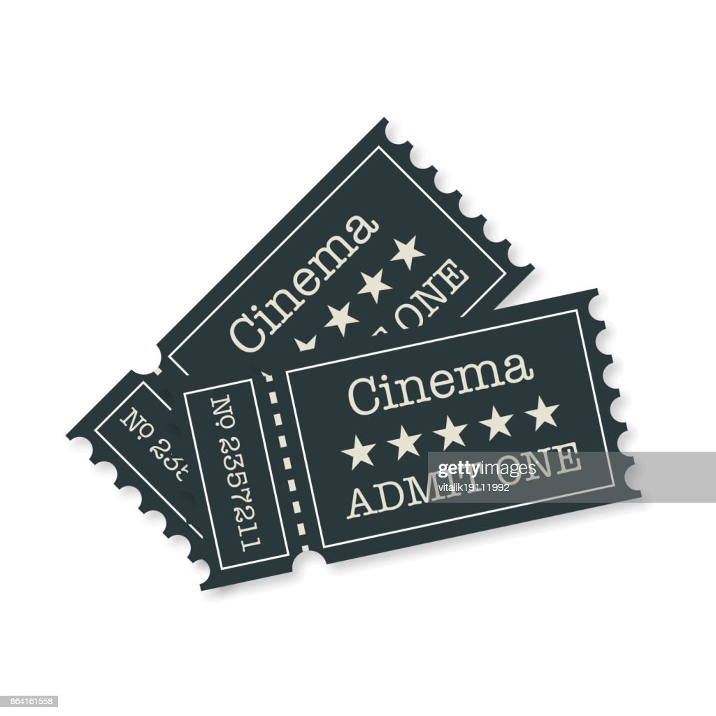Tickets wish sadow flat style on a white background