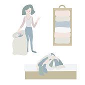 Tidying up Vector icon set. Closet organization illustration. House keeping. Tidy up. Declutter and tidying up concept. Woman with bag decluttering her clothes. Pile of clothes on bed. Before after