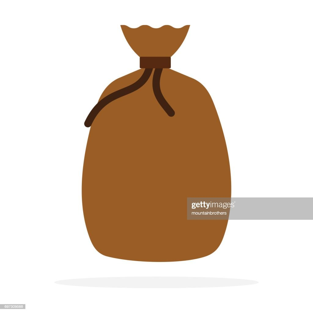 Tied a bag of coffee beans vector flat isolated