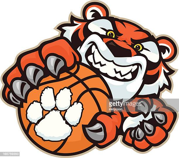 tiger basketball - claw stock illustrations, clip art, cartoons, & icons