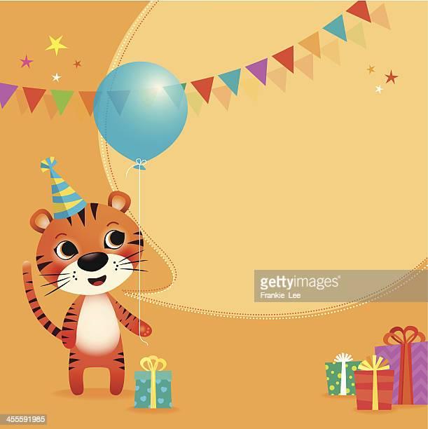illustrations, cliparts, dessins animés et icônes de tigre anniversaire - anniversaire enfant