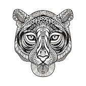 Tiger face. Hand Drawn doodle vector illustra