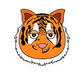 Tiger face kawaii vector illustration