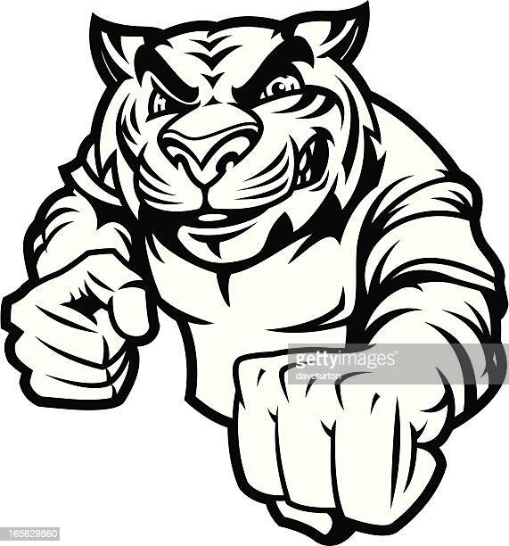 tiger fight stance b&w - fighting stance stock illustrations, clip art, cartoons, & icons