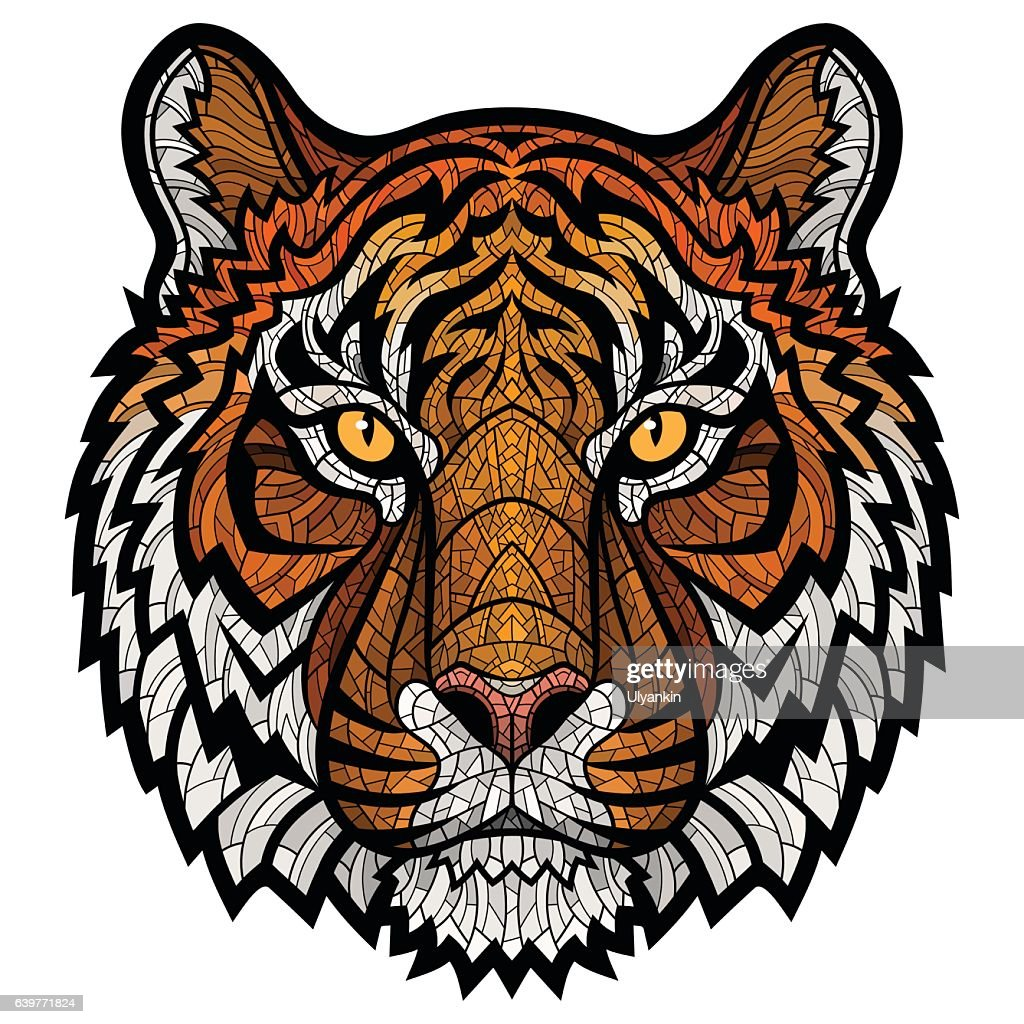 Tiger head isolated