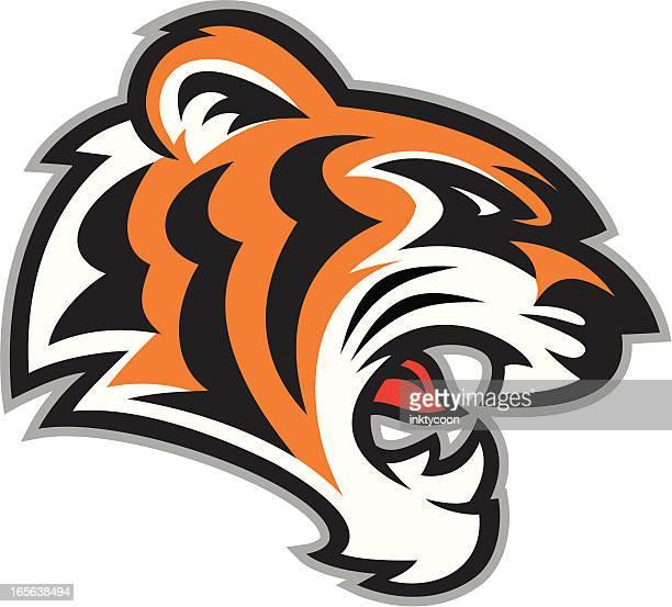tiger head mascot - snarling stock illustrations